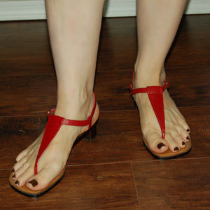 Ralph Lauren Red Leather T-Strap Sandals With Heel